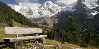 Switzerland Photograph - Bench With Mt Eiger And Mt Monch by Panoramic Images
