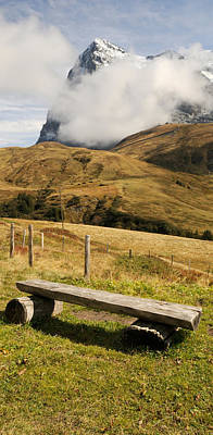Eiger Photograph - Bench With Mt Eiger In The Background by Panoramic Images