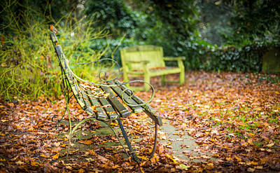 Photograph - Benches And Leaves by Gary Gillette