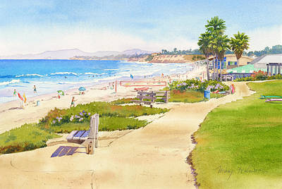 Beach Scene Painting - Benches At Powerhouse Beach Del Mar by Mary Helmreich