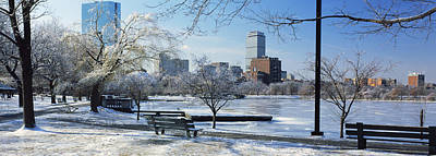 Benches In A Park, Charles River Park Art Print by Panoramic Images