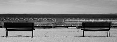Photograph - Benches On Decrepit Pier by Arkady Kunysz