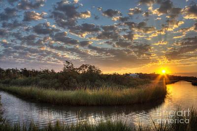 Bend In The Bayou Sunrise Art Print by Joan McCool