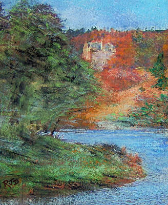 Painting - Bend In The River Neidpath Castle by Richard James Digance