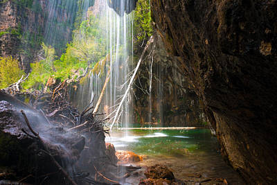 Beneath The Falls At Hanging Lake Colorado Print by John Hoffman