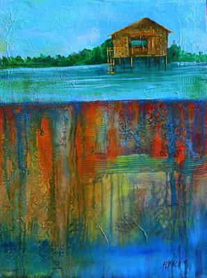 Shack Mixed Media - Beneath Tonle Sap Lake by Lynn Chatman