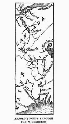 Benedict Arnold: Map, 1775 Art Print by Granger