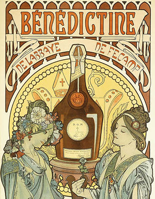 Food And Drink Painting - Benedictine by Alphonse Marie Mucha