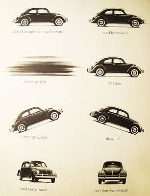 Vintage Advert Digital Art - Benefits Of A Volkwagen by Georgia Fowler