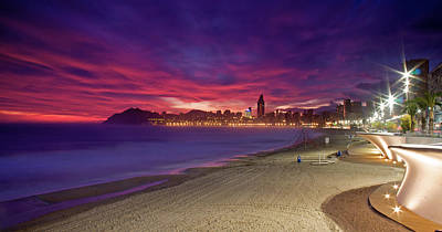 Benidorm At Sunset Art Print by Michael Underhill