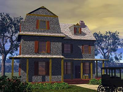 Digital Art - Benjamin Cooper House - 1734 by John Pangia