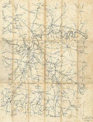 Nashville Tennessee Drawing - Benjamin F Cheatham Civil War Map Of Nashville And Surrounding Counties  by Cody Cookston
