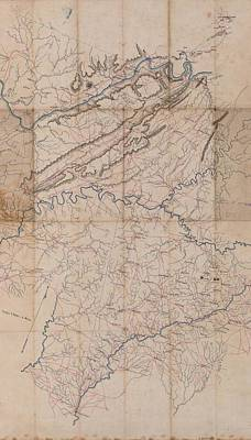 Map Of Tennessee Drawing - Benjamin F Cheatham Civil War Map Of Northern Georgia  by Cody Cookston