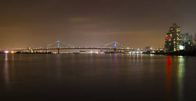 Benjamin Franklin Bridge At Night Panorama Art Print