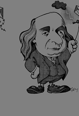 Benjamin Franklin, Caricature Art Print by Science Photo Library