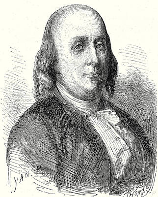 Benjamin Franklin Art Print by English School