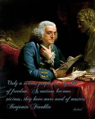 Benjamin Franklin Mixed Media - Benjamin Franklin On Freedom by Garland Johnson
