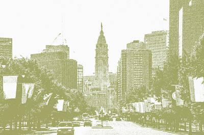 Phillies Digital Art - Benjamin Franklin Parkway - Philadelphia Pa by Bill Cannon