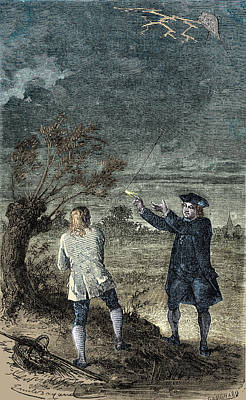 1750s Photograph - Benjamin Franklins Kite Experiment, 1752 by Science Source