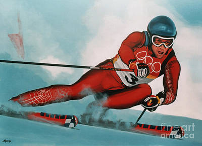 Snow Sports Painting - Benjamin Raich by Paul Meijering