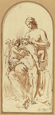 Benjamin Drawing - Benjamin West, Charity, American, 1738 - 1820 by Quint Lox