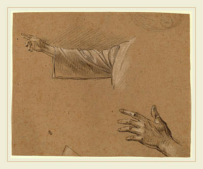 Benjamin Drawing - Benjamin West, Study Of A Right Arm And A Left Hand by Litz Collection