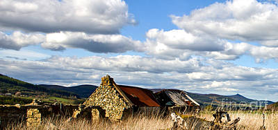 Art Print featuring the photograph Bennachie With Derelict Steading by Liz  Alderdice