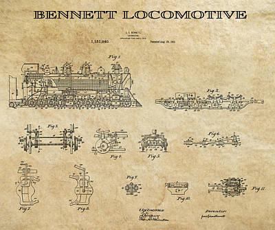 Rail Digital Art - Bennett Locomotive Patent Art Aged  1915 by Daniel Hagerman