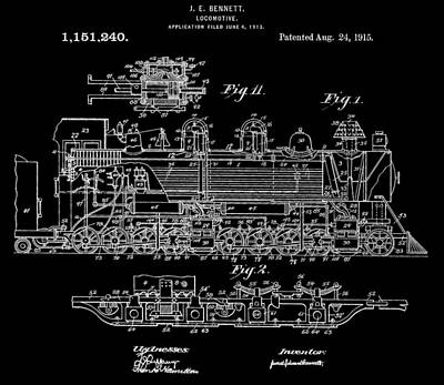 Transportation Digital Art - Bennett Train Patent by Dan Sproul