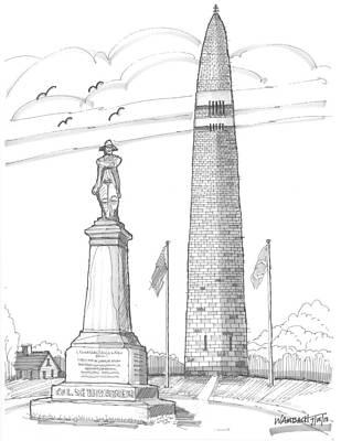 Historic Site Drawing - Bennington Battle Monuments by Richard Wambach