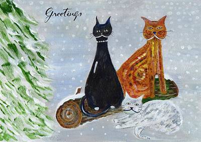 Painting - Ben's Cats In The Snow by Veronica Rickard