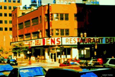 Ben's Restaurant Vintage Montreal Landmarks Nostagic Memories And Scenes Of A By Gone Era Art Print by Carole Spandau