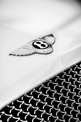 Photograph - Bentley Emblem -1161bw by Jill Reger