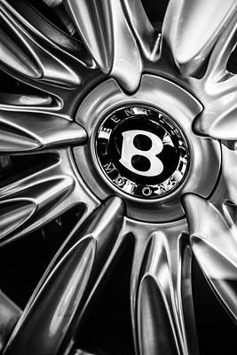 Photograph - Bentley Wheel Emblem -0303bw by Jill Reger