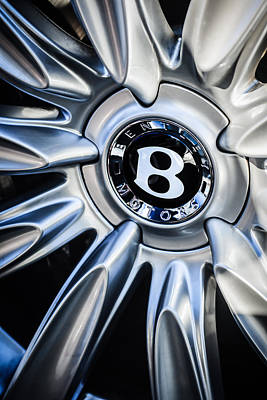 Photograph - Bentley Wheel Emblem -0303c by Jill Reger