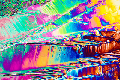 Minerally Photograph - Benzoic Acid Crystals In Polarized Light by Stephan Pietzko