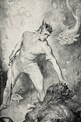 Bacon Drawing - Beowulf Shears Off The Head Of Grendel by John Henry Frederick Bacon