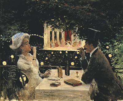 Beraud, Jean 1849-1935. Dinner At Les Art Print