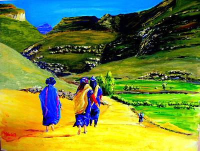Alta Painting - Berber Women On Their Way To Agoudal by Martine Harvengt