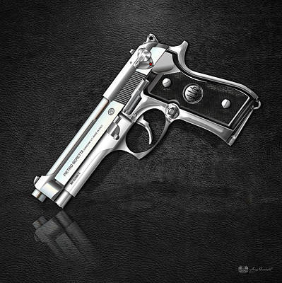 Digital Art - Beretta 92fs Inox Over Black Leather by Serge Averbukh