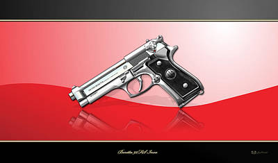 Digital Art - Beretta 92fs Inox Over Red And Black by Serge Averbukh