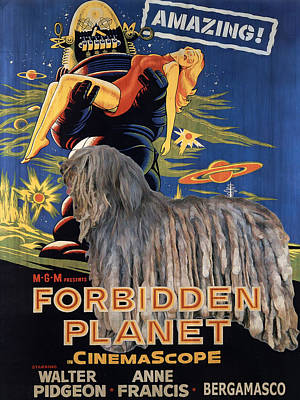 Forbidden Planet Painting - Bergamasco Art Canvas Print - Forbidden Planet Movie Poster by Sandra Sij