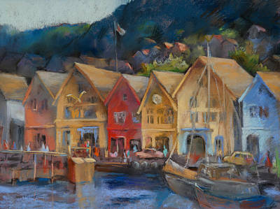 Harbor Scene Wall Art - Painting - Bergen Bryggen In The Early Morning by Joan  Jones