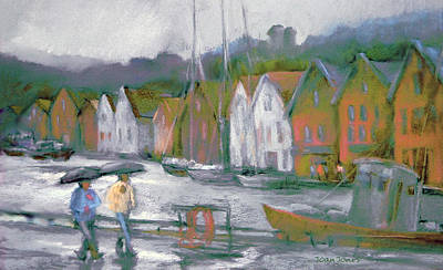 Pastel - Bergen Bryggen In The Rain by Joan  Jones