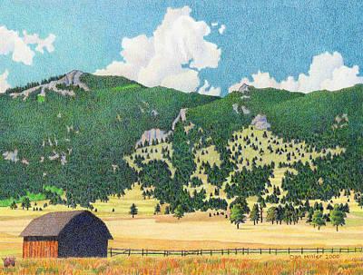 Drawing - Bergen Peak Summer by Dan Miller