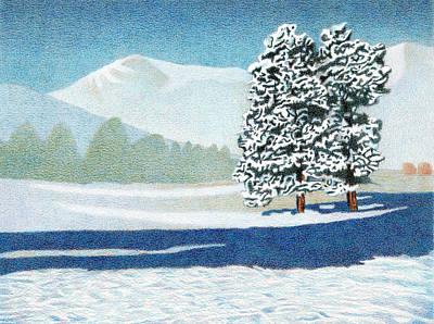 Drawing - Bergen Peak Winter by Dan Miller