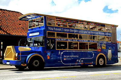 Hop On Hop Off Bus Photograph - Bergens Blue Bus For Tourists by Laurel Talabere