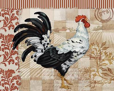 Wall Art - Painting - Bergerac Rooster 1 Red by Paul Brent