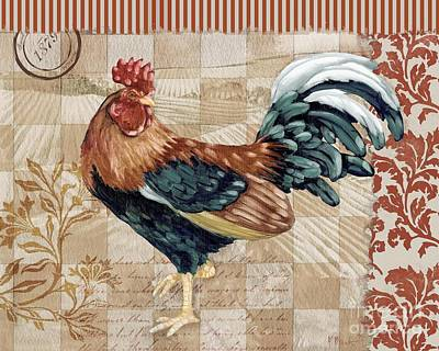 Painting - Bergerac Rooster 2 Red by Paul Brent