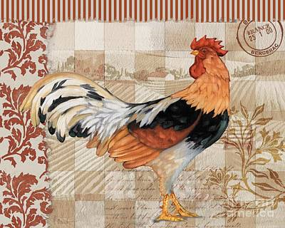 Wall Art - Painting - Bergerac Rooster 4 Red by Paul Brent